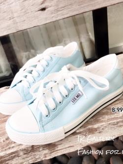 รองเท้าผ้าใบแฟชั่นสีฟ้า ผ้าแคนวาส รุ่นคลาสสิค (สีฟ้า )