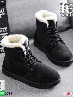 รองเท้าบูทหนังสีดำ บุขนนิ่ม กันหนาว (สีดำ )