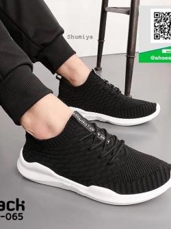 รองเท้าผ้าใบแฟชั่นสีดำ เสริมส้น (สีดำ )