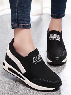 รองเท้าผ้าใบ มัฟฟินเข้านำ สไตล์เกาหลี (สีดำ)