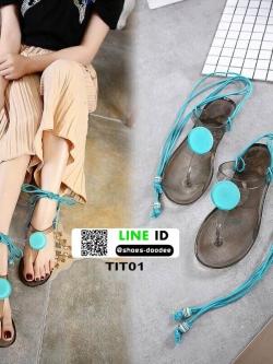 รองเท้าแตะส้นแบน jelly sandals TIT01-BLU [สีน้ำเงิน]