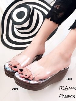 รองเท้าส้นเตารีดเปิดส้นสีเทา พียูใส พื้นผ้าพิ้มพฺลายดอกไม้ (สีเทา )