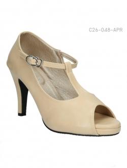 รองเท้าส้นสูงหุ้มส้น สไตล์วินเทจ (สีแอปปริคอท )