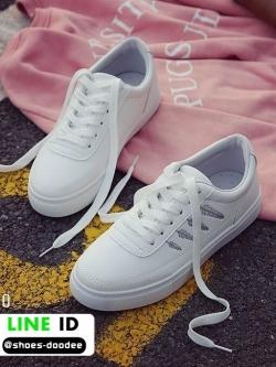 รองเท้าผ้าใบหนัง pu ปักลายใบไม้ SG-170-SIL [สีเงิน]