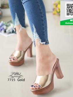 รองเท้าส้นสูงเปิดส้นสีทอง Muless Heels Shoes (สีทอง )