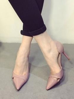 รองเท้าคัทชูส้นเข็ม งานนำเข้า (สีชมพู)