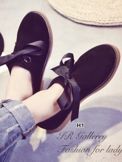 รองเท้าคัทชูหนังกลับ แนววินเทจ (สีดำ )