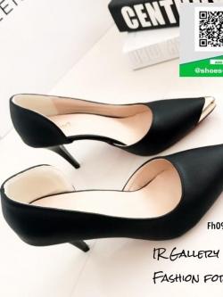 รองเท้าคัทชูส้นสูงสีดำ หัวแหลม ทรงเปิดข้อง (สีดำ )