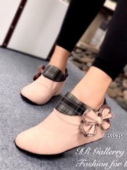 รองเท้าบูทผู้หญิง แต่งโบว์ข้าง (สีชมพู )