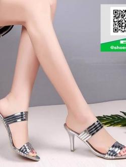 รองเท้าส้นเข็มเปิดส้นสีเงิน สไตล์แบรนด์ Patricia (สีเงิน )