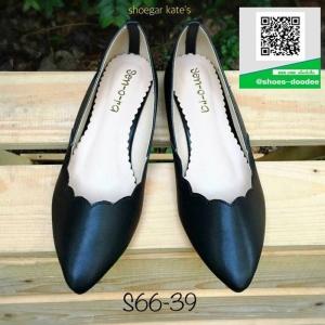 รองเท้าคัทชูส้นแบนหัวแหลม Pointed Toe Flat (สีดำ )