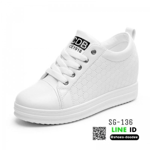 รองเท้าผ้าใบสปอร์ท หนัง pu SG-136-WHT [สีขาว]