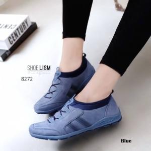 รองเท้าผ้าใบยางยืดสีน้ำเงิน ทรงSport (สีน้ำเงิน )