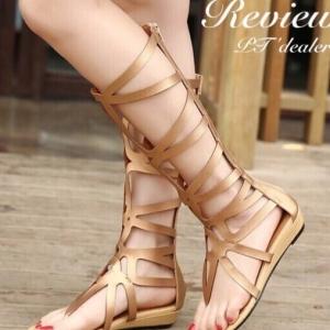 รองเท้าแตะแบบสายรัดสไตล์โรมัน แต่งซิปหลังยาว (สีน้ำตาล)