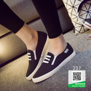 รองเท้าผ้าใบทรงสวมไม่ต้องผูกเชือก 237-BLK [สีดำ]