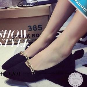 รองเท้าคัทชูส้นแบนสีดำ หนังสักราจ หัวแหลม แต่งสร้อยสีทอง เรียบง่าย ดูมีสไตล์ น่ารัก ทรงสุภาพ แฟชั่นเกาหลี แฟชั่นพร้อมส่ง