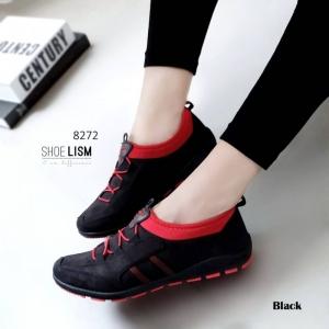 รองเท้าผ้าใบยางยืดสีดำ ทรงSport (สีดำ )