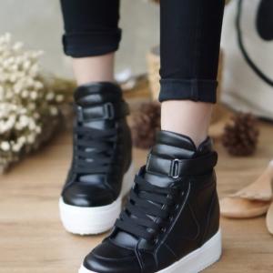 รองเท้าผ้าใบสีดำ ผ้าใบหุ้มข้อ หนังPU เสริมส้นด้านในประมาณ 1.5นิ้ว เมจิกเทปสวมใส่สบาย