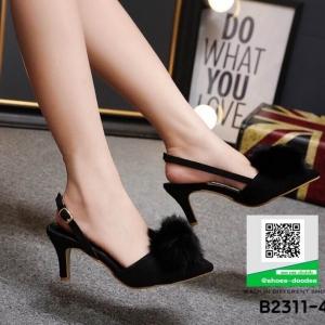 รองเท้าส้นเข็ม เปิดส้น แต่งพู่ B2311-4-BLK [สีดำ]