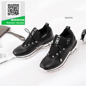 รองเท้าผ้าใบเพื่อสุขภาพสีดำ หนังนิ่ม (สีดำ )