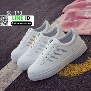 รองเท้าผ้าใบหนัง pu ปักลายใบไม้ SG-170-BLU [สีน้ำเงิน]
