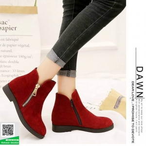 รองเท้าบูทแฟชั่นสีแดง Martin boots หนังกำมะหยี่ (สีแดง )