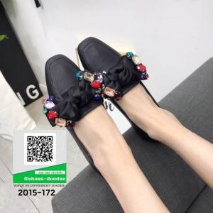 รองเท้าคัทชูส้นแบน Miu miu 2015-172-BLK [สีดำ]