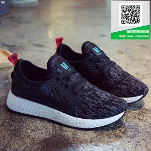 รองเท้าผ้าใบเสริมส้นสีดำ ทรงSport (สีดำ )
