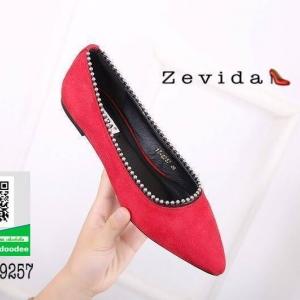 รองเท้าคัทชูส้นแบนสีแดง หัวแหลม หนังกลับ (สีแดง )