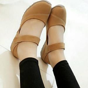 รองเท้าคัทชูส้นแบน เพื่อสุขภาพ แปะเมจิกเทป (สีน้ำตาล )