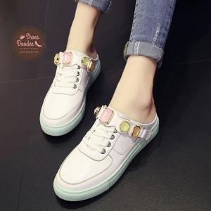 รองเท้าผ้าใบสีขาว งานเปิดส้น งานดีมาก สินค้านำเข้า วัสดุทำจากหนังpu เกรดA ลายเรียบ +1