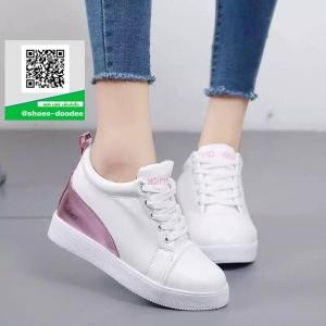 รองเท้าผ้าใบเสริมส้นสีขาว โลฟเฟอร์ สไตล์เกาหลี (สีชมพู )