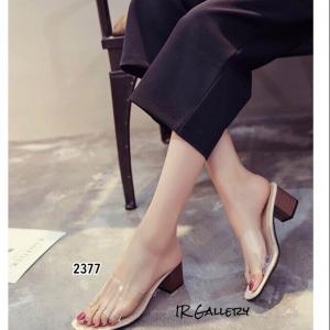 รองเท้าส้นตันสีครีม พียูใส ไม่บาดเท้า ส้นลายไม้ (สีครีม )