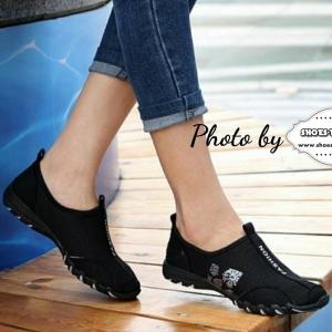รองเท้าผ้าใบสีชมพู ไม่ผูกเชือก LogoM ส้นแบน วัสดุทำจากผ้าตะข่ายนิ่มและโปร่ง ระบายอากาศได้ดี +1
