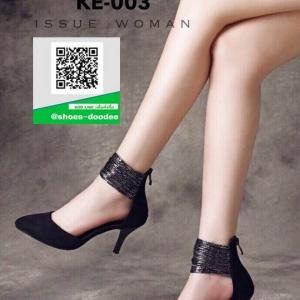 รองเท้าส้นเข็ม พันข้อเล่นลาย KE-003-BLK [สีดำ]