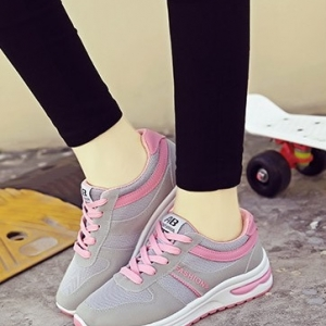 รองเท้าผ้าใบแฟชั่น ผ้าสักหลาดแต่งสลับผ้า ร้อยเชือก สวมใส่กระชับเท้า (สีชมพู )