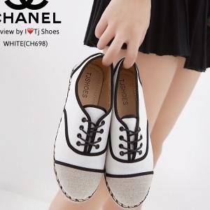 รองเท้าผ้าใบผู้หญิง ผ้าแคนวาส เพิ่มความเก๋ด้วยเชือกปอถัก STYLE CHANEL (สีขาว )