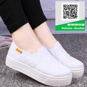 รองเท้าผ้าใบแฟชั่นสีขาว พื้นยางผสมกลิ่นหอมของดอกไม้ (สีขาว )