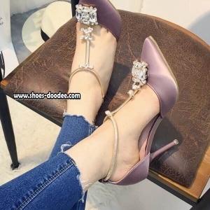รองเท้าส้นสูงสีม่วง รัดข้อแบบหรูๆทรงDior งานหนังซาติประดับคริสตัสสวยมาก วัสดุเกรดดีระดับพรีเมี่ยม