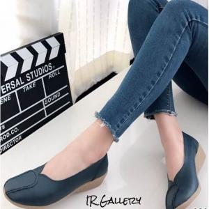 รองเท้าส้นเตี้ย เพื่อสุขภาพ หนังนิ่ม สไตล์วินเทจ (สีเทา )