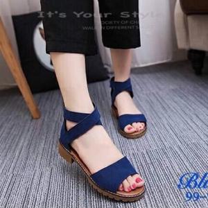 รองเท้าส้นเตี้ยรัดข้อสีน้ำเงิน สายไขว้ยางยืด ซิปหลัง (สีน้ำเงิน )