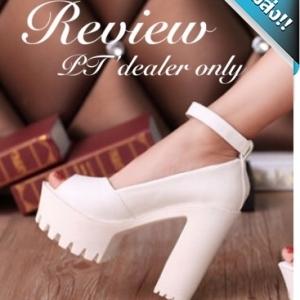 รองเท้าคัทชูส้นตึกสีขาว พื้นหนา หนังPU โชว์นิ้วเท้า สายรัดข้อเท้าปรับได้ ทรงทันสมัย แฟชั่นพร้อมส่ง