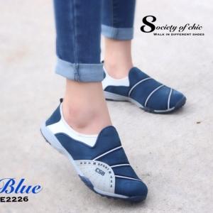 รองเท้าผ้าใบแฟชั่นสีน้ำเงิน ไร้เชือก สไตล์ Sport Girls (สีน้ำเงิน )