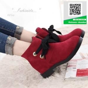 รองเท้าบู้ทส์สีแดง หนังสักกะหราด สไตล์เกาหลี (สีแดง )