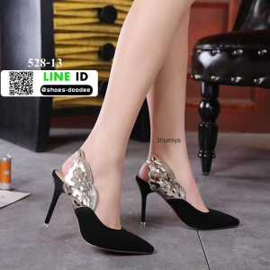 รองเท้าส้นเข็มรัดส้น 528-13-BLACK [สีดำ]