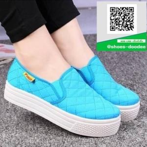 รองเท้าผ้าใบแฟชั่นสีฟ้า พื้นยางผสมกลิ่นหอมของดอกไม้ (สีฟ้า )