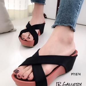 รองเท้าส้นเตารีด เปิดส้นสายคาดไขว้ หนังนิ่ม ความชันต่ำใส่สบาย (สีดำ )