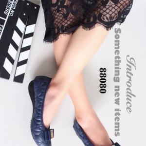 รองเท้าคัทชูส้นเตี้ย หัวตัด บุนวม (สีน้ำเงิน )