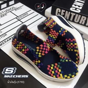 รองเท้าผ้าใบสีรุ่ง เพื่อคนรักสุขภาพ STYLE-SKECHERS ด้านหน้าทำจากผ้ายางยืดอย่างดี แฟชั่นเกาหลี แฟชั่นพร้อมส่ง