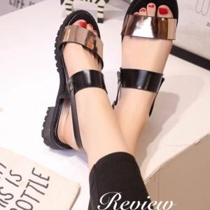 รองเท้าแตะรัดส้นแบบเสริมส้น (สีทองแดง)